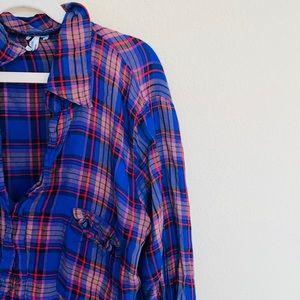 Splendid plaid button down popover blouse